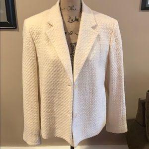 Jones NY (2) Button Cream Wool Textured Blazer